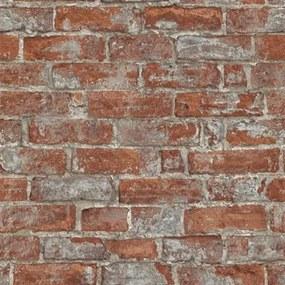 Vliesové tapety na stenu Imitations 6318-06, rozmer 10,05 m x 0,53 cm, tehlová stena červená, Erismann