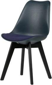 Sada 2 tmavomodrých stoličiek s nohami z borovicového dreva WOOOD Stan