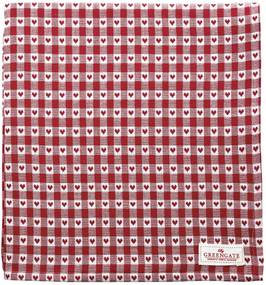 GREEN GATE Bavlnený obrus Heart Petit Red 150x150cm