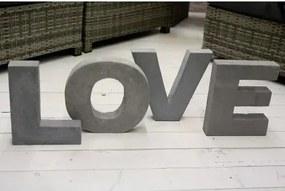 Bighome - Dekoratívny nápis LOVE - sivá