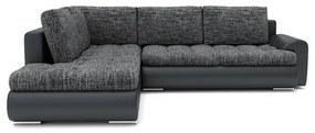 Rozkladacia rohová sedacia súprava TOKIO V Tmavo šedá/čierna eko-koža Ľavá