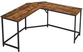 Sconto Rohový písací stôl LWD73X čierna/hnedá