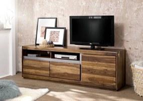 Bighome - ROUND TV stolík -2 skrinky 180x60 cm, hnedá, palisander