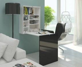 MEBLOCROSS Hide rozkladací písací stolík s regálom biela