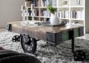 Bighome - INDUSTRY Konferenčný stolík s kolieskami 120x60 cm, staré drevo