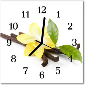Nástenné sklenené hodiny  vanilkové kvety