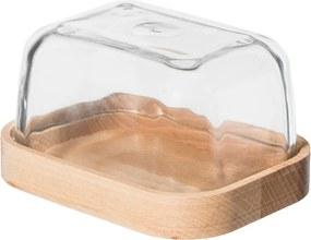 Drevobox Drevená máslenka so skleneným poklopom