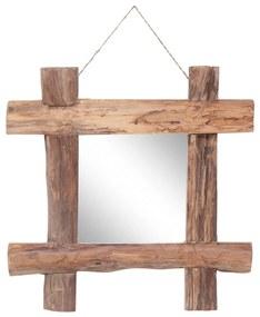 vidaXL Guľatinové zrkadlo prírodné 50x50 cm masívne recyklované drevo