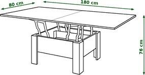 Mazzoni OSLO dub sonoma - rozkladací, zdvíhací, konferenčný stolík
