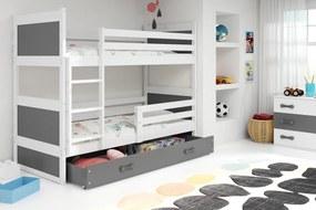 Poschodová posteľ RICO 2 - 200x90cm - Biely - Grafitový
