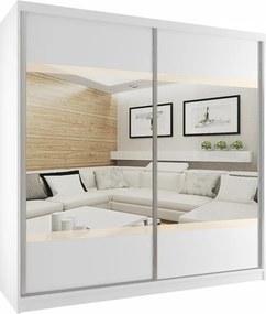Luxusná šatníková skriňa s posuvnými dverami, zrkadlom a béžovými pruhmi šírka 200 cm biely korpus S dojezdem