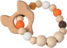 Drevobox Drevené okrúhle hryzadlo oranžové - líška