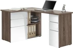 Sconto Rohový písací stôl BAKER dub truffel/biela