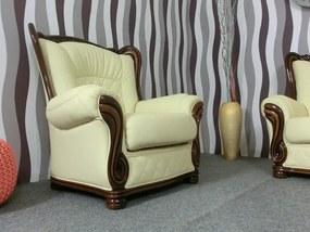 (2348) BRIGITTE 3 + 1 + 1 luxusná kožená sedacia zostava krémová