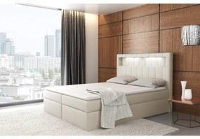 Dizajnové jednolôžko Elyan s úložným priestorom béžová eko koža 140 x 200 + topper zdarma