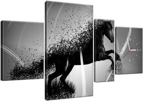 Obraz s hodinami Čiernobiely kôň – Jakub Banas 120x70cm ZP3573A_4AN