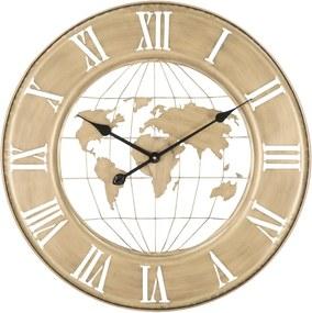 Nástenné hodiny v zlatej farbe Mauro Ferretti World, ø 63 cm