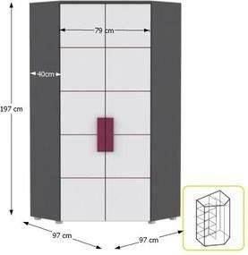 TEMPO KONDELA Lobete 89 rohová šatníková skriňa sivá / biela / fialová