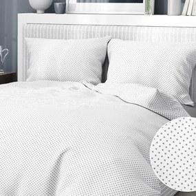 Goldea bavlnené posteľné obliečky - vzor 494 sivé bodky na bielom 140 x 200 a 70 x 90 cm