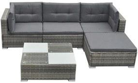vidaXL 14-dielna záhradná sedacia súprava, polyratan, šedá
