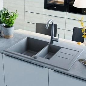vidaXL Granitový kuchynský drez, dve vaničky, sivý