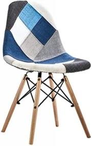 Jedálenská stolička PATCHWORK modrá - škandinávsky štýl