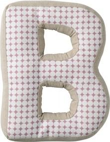 Bloomingville Detský vankúšik Checked v tvare písmena B
