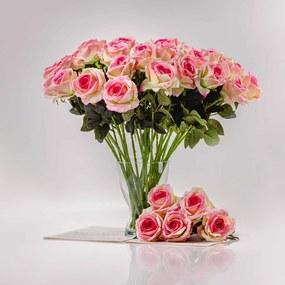 Umelá zamatová ruža ŽANETA bielo-ružová. Cena uvedená za 1 kus.