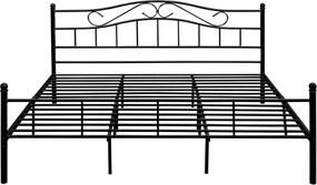 "[en.casa] Kovová posteľ s roštom a matracom ""Florenz"" HTMB-180BM - čierna - 180 x 200 cm"