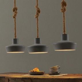 Závesná lampa Retrope s tromi tienidlami, betón