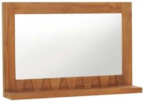 vidaXL Nástenné zrkadlo s poličkou 60x12x40 cm masívne teakové sklo