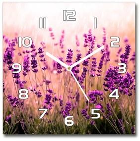Sklenené nástenné hodiny štvorec Levanduľa pl_zsk_30x30_f_67946318