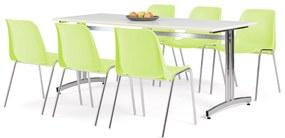 Zostava nábytku: Stôl Sanna + 6 limetkovo zelených stoličiek Sierra