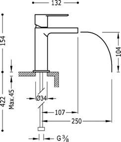 TRES - LOFT COLORS Umývadlová jednopáková batéria ramienko s otvoreným vodopádom (20011001ROD)