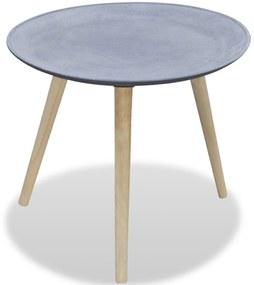 vidaXL Príručný stolík, okrúhly, sivý, dekor betón