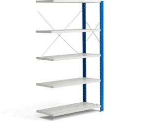 Policový kovový regál Mix, prídavná sekcia, 1740x1005x400 mm, modrá, šedá