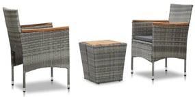 vidaXL 3-dielna bistro súprava sivá polyratan a akáciové drevo