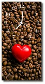 Sklenené hodiny vertikálne Kuchynské srdce farebných kávových zŕn 30x60 cm