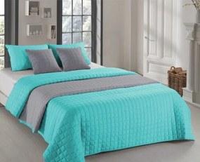 DomTextilu Mentolovo sivé obojstranné prehozy na posteľ s prešívaním 200 x 220 cm 10044