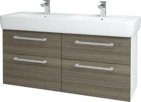 Dřevojas - Koupelnová skříň Q MAX SZZ4 130 - N01 Bílá lesk / Úchytka T03 / D03 Cafe (131883C)