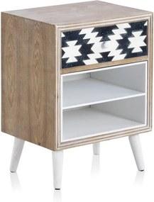 Príručný stolík s čiernobielymi detailmi a jednou zásuvkou Geese Rustico Geometric