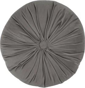 Sivý zamatový dekoratívny vankúš Tiseco Home Studio Velvet, ø 38 cm