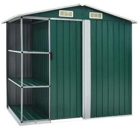 vidaXL Záhradná kôlňa s regálom zelená 205x130x183 cm železná