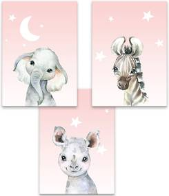 Séria 3 canvas 30x40 cm - Baby animals ružová