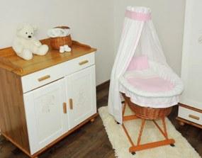 Prútený kôš s ružovou sadou obliečok Prútený kôš pre bábätko s ružovou sadou obliečky
