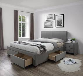 Halmar Čalouněná postel Modena 160x200 dvoulůžko - šedé