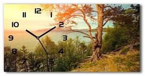 Sklenené hodiny na stenu Škandinávia jazero pl_zsp_60x30_f_121778519