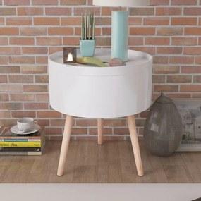 vidaXL Okrúhly konfrenčný stolík s táckou, 39,5x44,5 cm, biely