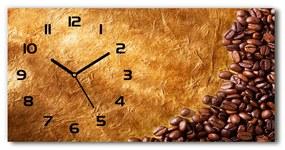 Moderné sklenené hodiny na stenu Zrnká kávy pl_zsp_60x30_f_102310086