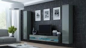 Obývacia stena Vigo NEW 4 (sivá/sivý lesk)